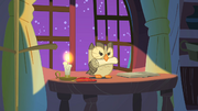 Owlowiscious with Twilight Sparkle's scroll S1E24