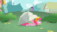 Pinkie Pie hiding under a boulder S1E15