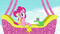 Pinkie Pie holding ribbon over her eye S7E11