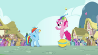 Pinkie Pie throws cupcake into Rainbow's mouth S4E12