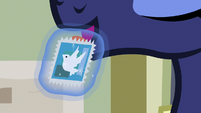 Princess Luna licking the stamp S9E13