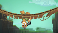 Quibble hanging upside-down in bridge S6E13