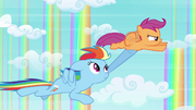 Rainbow Dash and Scootaloo flying together S3E06