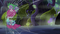 Spike and Pinkie run into a spider web S5E21