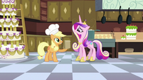 Applejack giving bag of apple fritters to Cadance S2E25