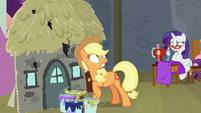 Applejack looks at flaming marshmallow S8E7