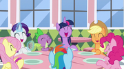 Mane Six and Spike sharing a laugh S9E25