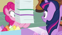 Pinkie Pie returns with tall stack of files S7E3