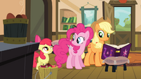 Pinkie and Applejack listening to Apple Bloom S4E09
