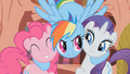 Rainbow Dash hugs Pinkie Pie and Rarity S1E07.png