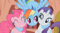 Rainbow Dash hugs Pinkie Pie and Rarity S1E07