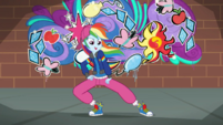 Rainbow Dash in front of Crystal Rainbooms' graffiti SS13