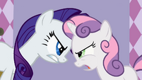 Rarity and Sweetie Belle fighting S2E5