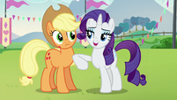 Rarity nudges Applejack S5E24