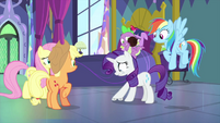 Rarity stepping on her hoof-wheels MLPS2