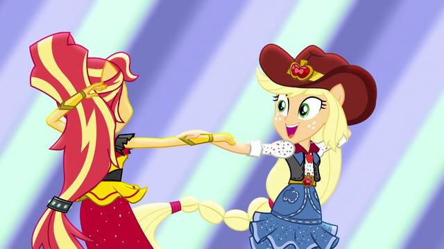 File:Sunset and Applejack dancing together EGS1.png