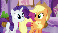 Applejack and Rarity hear Rainbow's voice S6E10