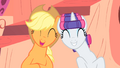Applejack and Rarity laughing together S1E08.png