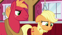 Applejack disappointed; Big Mac looking smug S6E23