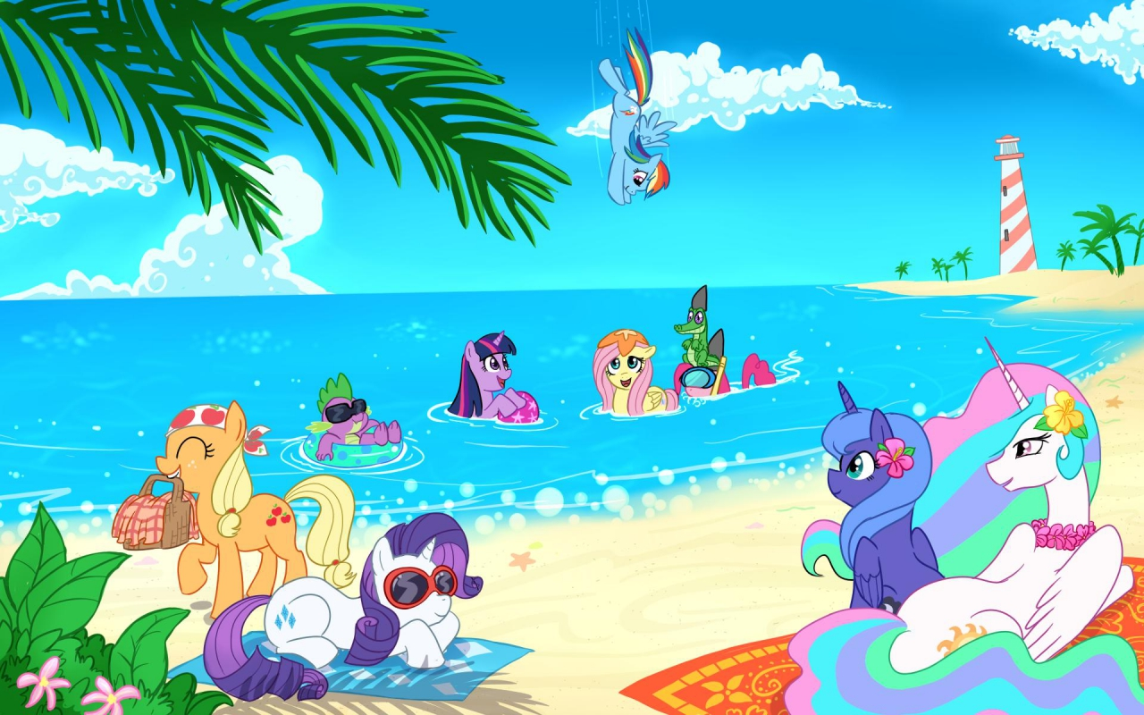 image - fanmade main cast on beach wallpaper | my little pony