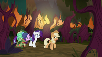 Fake AJ leads Rarity and Starlight through the forest S8E13