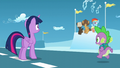 """Filly Rainbow """"This is way more exciting!""""; Spike approaches S5E26.png"""