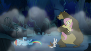 Fluttershy and animals watch Rainbow laugh S6E15