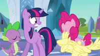 Pinkie Pie emerging from the Fluttershy costume S03E01