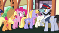 Ponies getting off the train S03E11.png