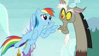 Rainbow and Discord look at each other S5E22
