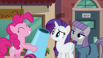 Rarity and Maud Pie sees Pinkie with her party cannon S6E3
