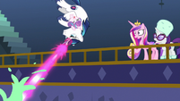 Shining Armor flips and blasts pudding MLPBGE