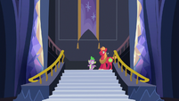 Spike and Big Mac enter the castle lobby S6E17