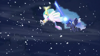 Storm clouds consuming Luna and Celestia S6E2
