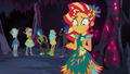 Sunset looking confused at Pinkie's marshmallow EG4b.png