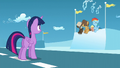 Twilight looks at Rainbow, Dumb-Bell, and Hoops S5E26.png