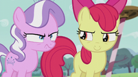 Apple Bloom looks at Diamond Tiara looking angry S5E18