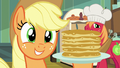 Applejack holding a stack of flapjacks S7E13.png