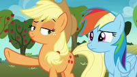 Applejack looking slyly at Rainbow Dash S8E5