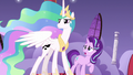 Celestia and Starlight look at Nightmare Moon S7E10.png