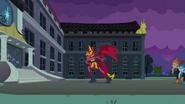 Demon Sunset Shimmer in front of the school EG