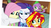 Fluttershy, Rarity, Sunset, and Spike photo EG2