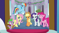 Main five and Spike looking at Twilight S8 opening