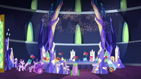 Mane Six's party cannons firing confetti S8E2