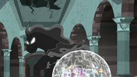 Pony of Shadows circles around the ponies' barrier S7E26