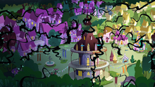 Ponyville covered in vines S4E1