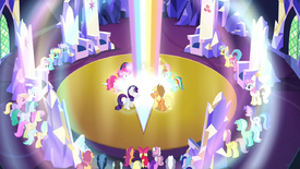 Rainbow shoots up from the floor S4E26