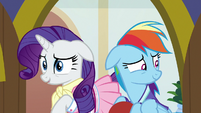 Rarity and Rainbow Dash looking nervous S8E17