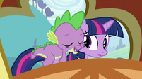 Spike on Twilight's back 2 S3E2