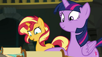 Sunset Shimmer impressed by Clover's cleverness EGFF